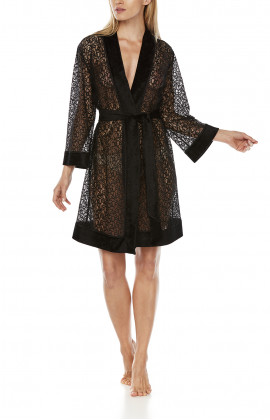 Very sexy, mid-length black dressing gown, made entirely of lace