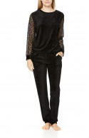 Long-sleeve pyjamas/loungewear in a blend of bamboo fibre and lace
