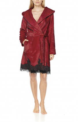 Short, fleece dressing gown with wide hood, shawl collar and lace at the hem - Coemi-Lingrie