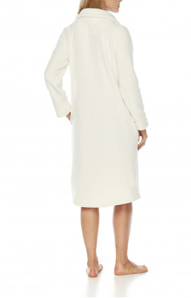 Long fleece dressing gown with wide Peter Pan collar, fastened with large buttons, no belt.