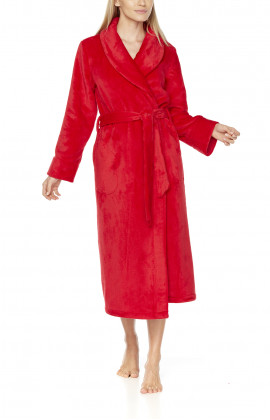 Long fleece dressing gown with shawl collar, wide pockets at the sides and belt