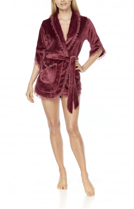 Very sexy fleece and lace short dressing gown with three-quarter-length sleeves and shawl collar