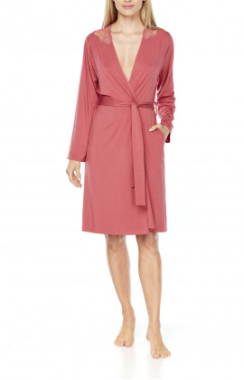 Pretty mid-length dressing gown, embellished with lace at the back