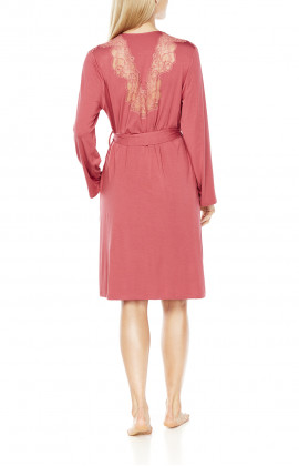 Very beautiful mid-length dressing-gown with lace in the back and shoulders