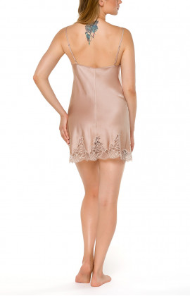 Skin-coloured silk negligee with thin straps and lace - Coemi-Lingerie
