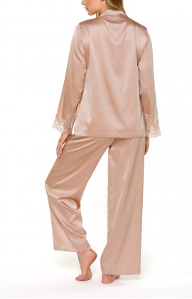 Silk and lace skin-coloured two-piece pyjamas - Coemi-lingerie