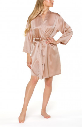 Skin-coloured short silk dressing gown with waist tie - Coemi-Lingerie