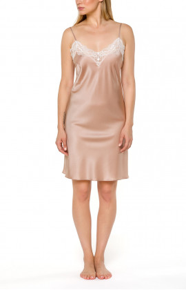 Short silk night dress with thin straps and lace