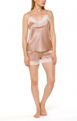 Skin-coloured nightwear set with top and shorts in silk and lace - Coemi-lingerie