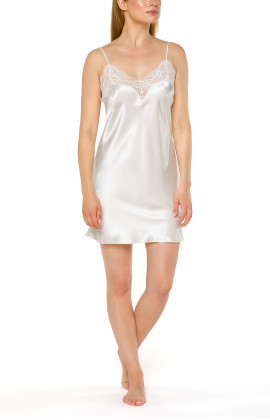 White negligee with thin, adjustable straps in satin and lace