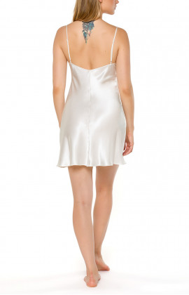 White negligee with thin, adjustable straps in satin and lace - Coemi-ingerie
