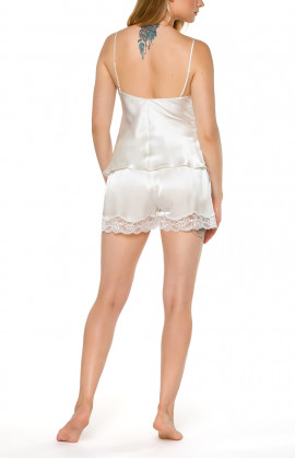 Set of top and shorts in white satin and lace - Coemi-lingerie