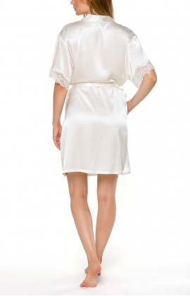 Short-sleeve, knee-length dressing gown in white satin and lace - Coemi-lingerie