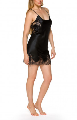 Satin and lace negligee with thin, adjustable criss-cross straps at the back - Coemi-lingerie