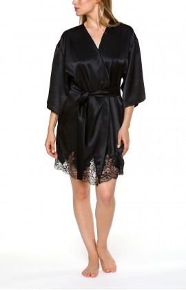 Satin dressing gown, cut just above the knee with three-quarter-length sleeves