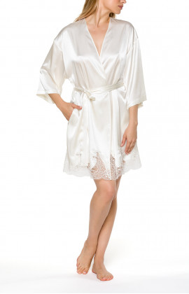 Satin dressing gown, cut just above the knee with three-quarter-length sleeves - Coemi-lingerie