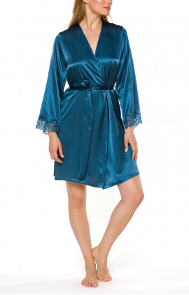 Satin and lace short dressing gown with long sleeves - Coemi-lingerie