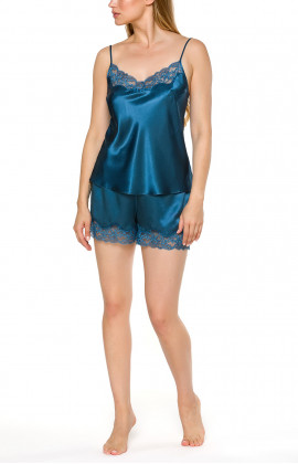 Top and shorts nightwear set in blue or black satin and lace - Coemi-lingerie