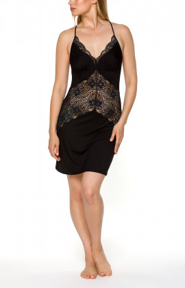 Micromodal and black lace negligee with thin cross-back straps - Coemi-lingerie