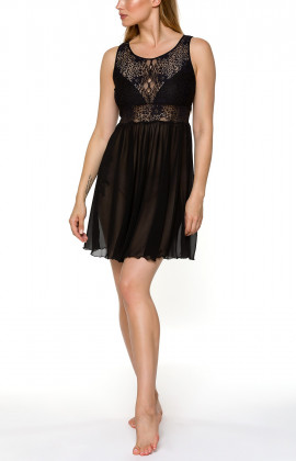 Sleeveless negligee with top buttoned at the back, and flared skirt - Coemi-lingerie