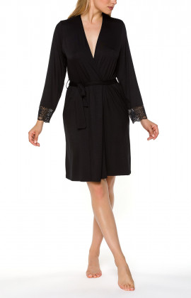 Mid-length black dressing gown with long sleeves and lace