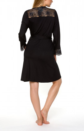 Mid-length black dressing gown with long sleeves and lace - Coemi-lingerie