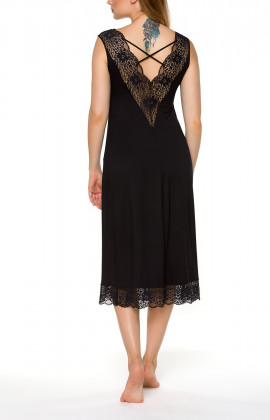 Mid-length, sleeveless, black nightdress with lace V-neck - Coemi-lingerie