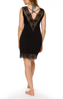 Sleeveless black negligee with lace neckline - Coemi-lingerie