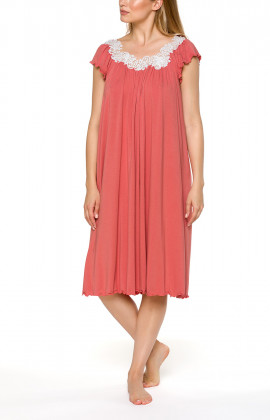 Loose-fitting, mid-length, coral pink nightdress with short sleeves and lace - Coemi-lingerie