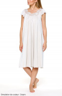 Loose-fitting, mid-length, coral pink nightdress with short sleeves and lace