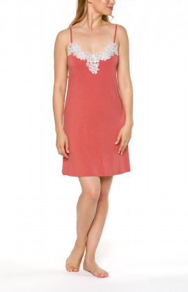 Coral pink negligee with thin adjustable straps and lace - Coemi-lingerie