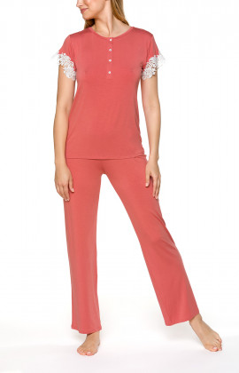 Coral pink short-sleeve pyjamas with lace - Coemi-lingerie
