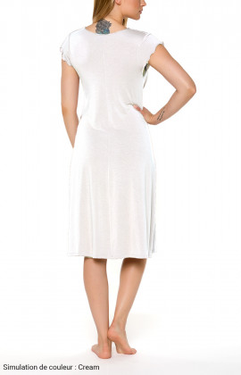 Mid-length nightdress/lounge robe with loose-fitting short sleeves