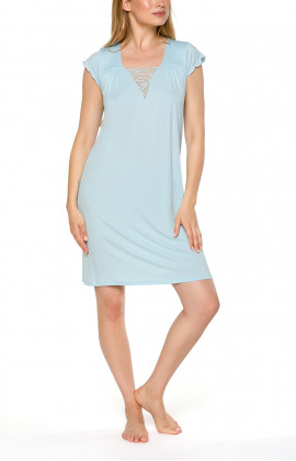 Short nightdress/lounge robe with loose-fitting short sleeves