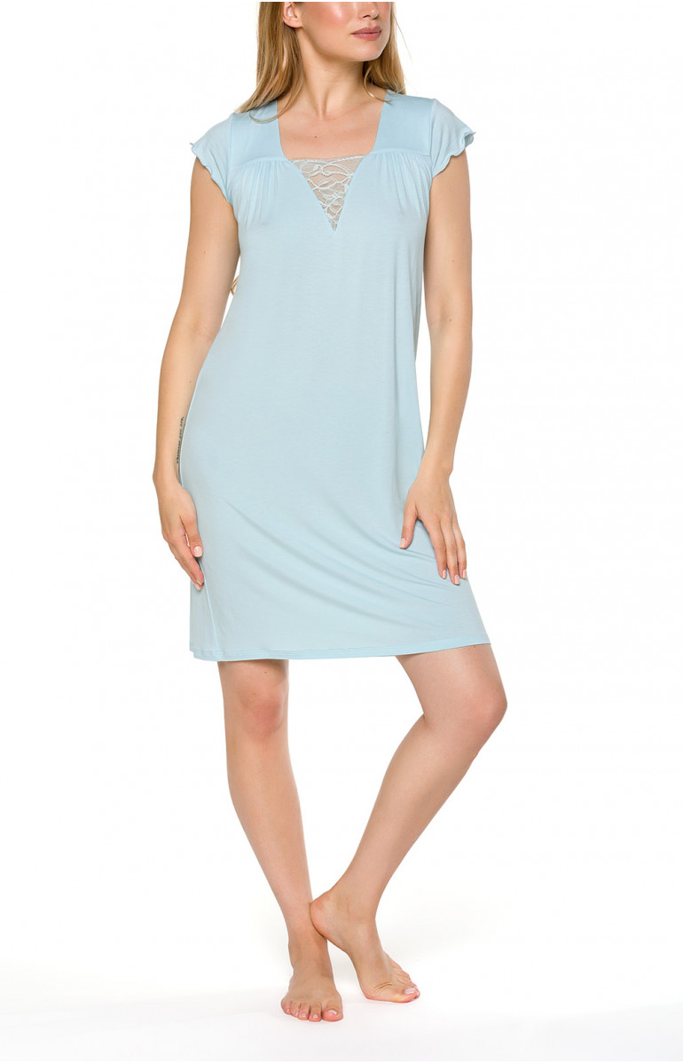 Short nightdress/lounge robe with loose-fitting short sleeves - Coemi-lingerie