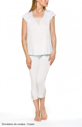 Two-piece pyjamas with short-sleeve top and three-quarter-length bottoms - Coemi-lingerie