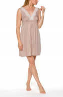 Sleeveless negligee with loose-fitting skirt and lace around the neckline and at the back