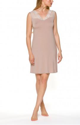 Short, sleeveless nightdress/lounge robe with lace
