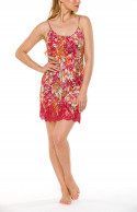Negligee with thin, adjustable straps, a floral motif and red lace