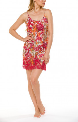 Negligee with thin, adjustable straps, a floral motif and red lace - Coemi-lingerie