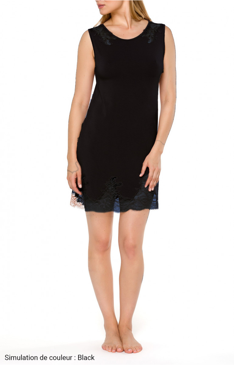 Short nightdress with round neck, short sleeves and lace - Coemi-lingerie
