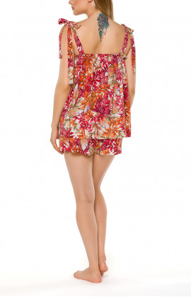 Top and shorts nightwear set with a floral motif and red lace - Coemi-lingerie