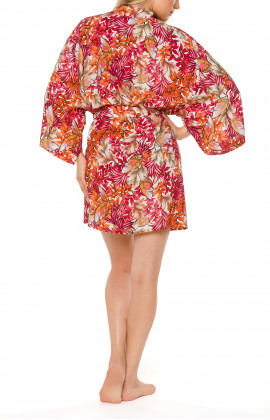Kimono-style short dressing gown with loose-fitting long sleeves and a floral motif - Coemi-lingerie