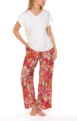Loose-fitting pyjama bottoms/loungewear joggers with a floral motif in a shade of red - Coemi-lingerie