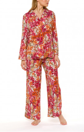 Two-piece pyjamas with shirt-like top and loose-fitting long bottoms- Coemi-lingerie