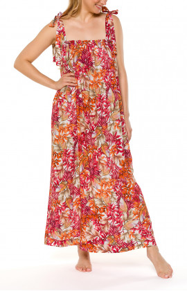 Long nightdress/lounge robe, tied at the shoulders, with a floral motif - Coemi-lingerie