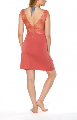 Figure-hugging sleeveless negligee with V-neck and lace - Coemi-lingerie