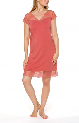 Short-sleeve nightdress with V-neck and lace - Coemi-lingerie
