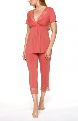 Pyjamas/loungewear set with short-sleeve top and V-neck with lace trim  - Coemi-lingerie