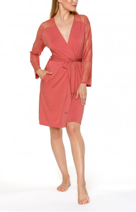 Short, fitted dressing gown with long sleeves embellished with lace - Coemi-lingerie